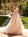Moonlight Couture H1429 strapless shimmer organza rustic lace bridal dress