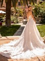 Moonlight Couture H1429 organic lace wedding gown with shimmer tulle semi-cathedral train