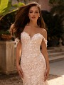 Moonlight Couture H1430 3D lace wedding dress with swag sleeves