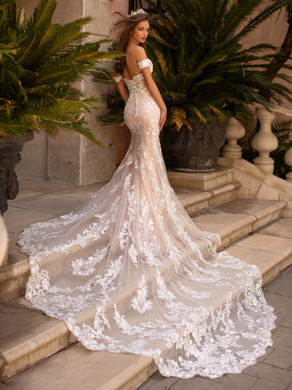 Moonlight Couture H1430  mermaid wedding dress with cathedral lace see through train