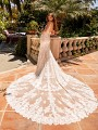 Moonlight Couture H1431 glamorous lace wedding with long beautiful lace cathedral train
