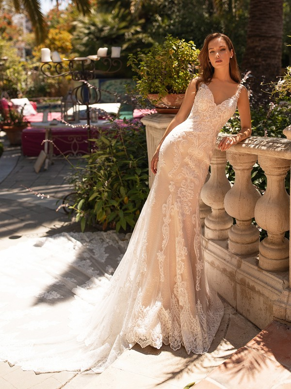 Moonlight Couture H1431 romantic lace wedding dress with delicate illusion straps