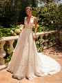 Moonlight Couture H1432 tulle and net a-line wedding gown with v-neckline
