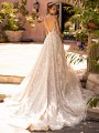 Moonlight Couture H1433 deep open back wedding dress with sequin net
