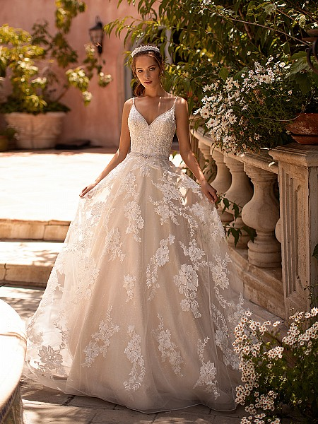 Moonlight Couture H1433 sparkly beaded lace A- line wedding dress with sequin net