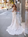 Wedding Dress With Shaped Illusion & Lace Long Train Moonlight Couture H1441