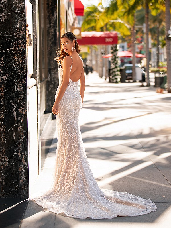 Beaded & Embroidered Low Illusion Back Wedding Dress Moonlight Couture H1442