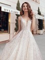 Beaded Sweetheart Wedding Dress with Straps and 3D Florals Moonlight Couture H1445