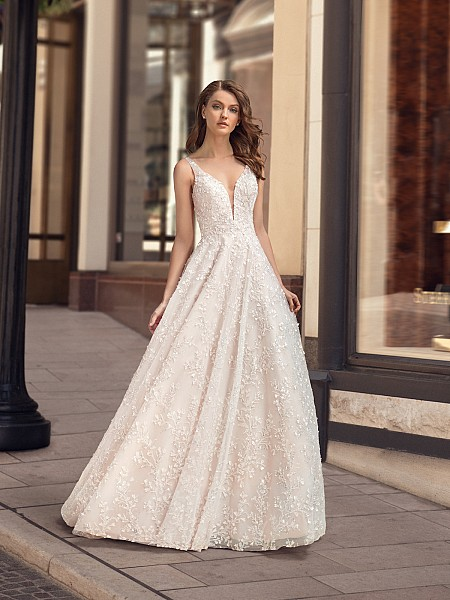 Beaded and Embroidered A-line Wedding Dress With Sparkle Tulle Moonlight Couture H1445