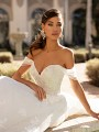 Fairytale Tulle Swag Sleeve Beaded Neckline Wedding Dress Moonlight Couture H1447