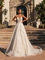 Floral Shimmer Net Full A-line Wedding Dress With Straps Moonlight Couture H1451