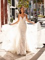Sequin Organic Lace Mermaid Wedding Dress With Detachable Tulle Train Moonlight Couture H1452
