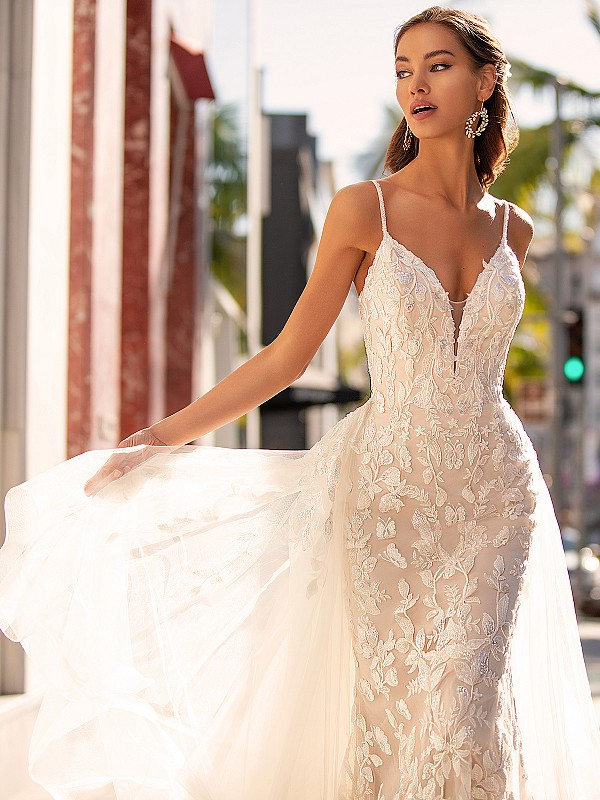 Beaded Leaf Lace Wedding Dress With Cascade Tulle Train Moonlight Couture H1452