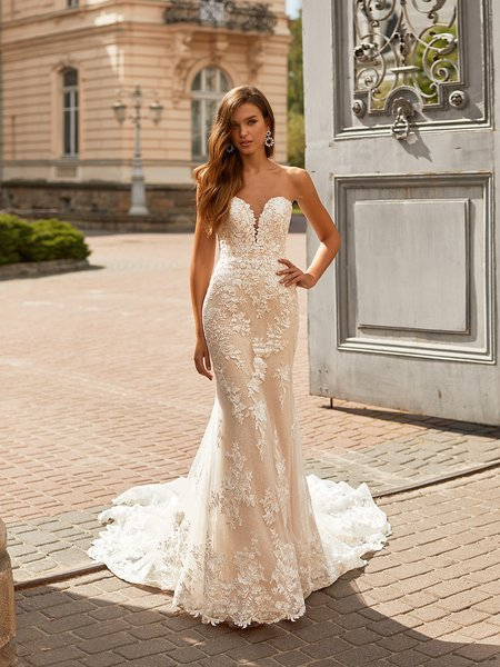 Moonlight Couture H1461 Shimmery Sequin Strapless and Lace Sweetheart with Illusion Inset Wedding Gown Lace