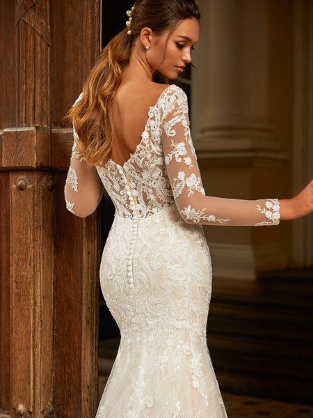 Moonlight Couture H1462 Deep Illusion V-Back Wedding Gown with Lace Appliques and Covered Buttons with Loops Along Zipper
