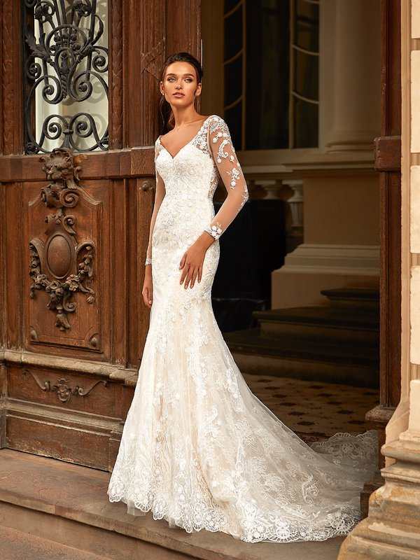 Moonlight Couture H1462 Rustic Chantilly Lace with Sequin Mermaid Dress with Wide V-Neck and Long Illusion Lace Sleeves