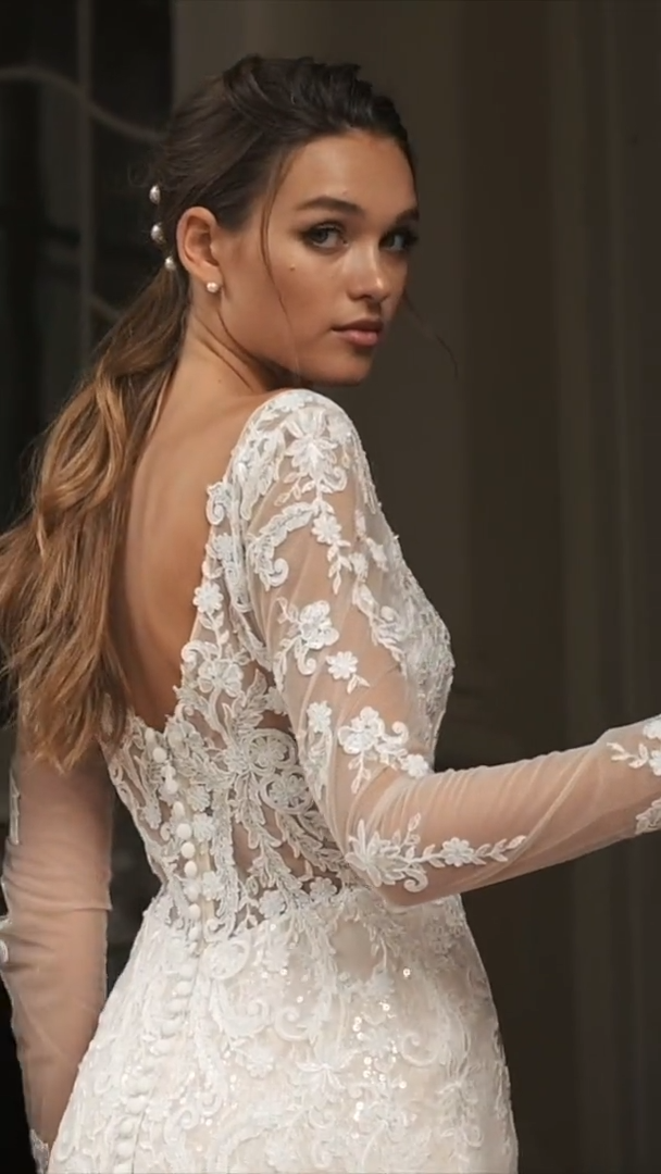 Moonlight Couture H1462 Vintage-Inspired Chantilly Lace and Net Wedding Gown with Long Illusion Sleeves