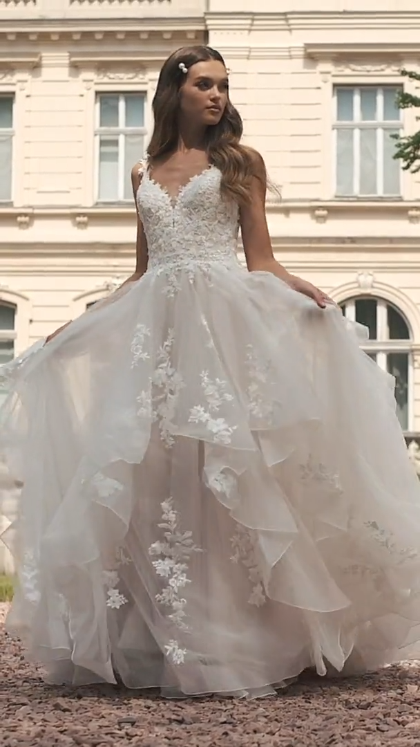 Moonlight Couture H1465 Magical Sparkle Tulle Full A-Line Wedding Gown with Cascading Skirt