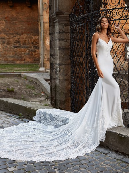 Moonlight Couture H1469 Sleek Princess Cut Mermaid Wedding Gown with Lace Detailed See-Through Semi-Cathedral Train