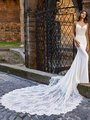 Moonlight Couture H1470 Sleek Regal Crepe Mermaid Wedding Gown with Re-Embroidered Lace Applique Sheer Bodice