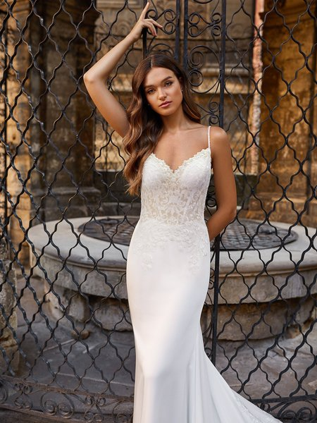 Moonlight Couture H1470 Sexy Unlined Bodice Wedding Gown with Boning and Beaded Spaghetti Straps
