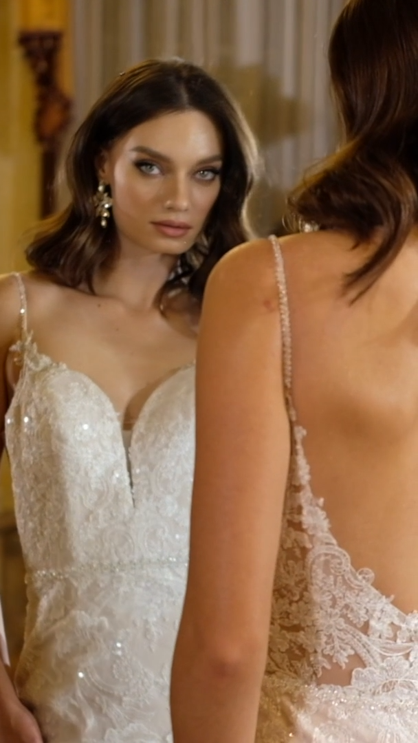 Moonlight Couture H1471 on trend couture lace wedding dresses and beaded wedding dresses