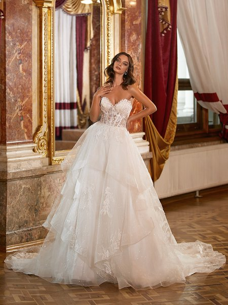 Moonlight Couture H1474 Sparkly Sequin Full A-Line Wedding Dress With Tiered Skirt and Unlined Sweetheart Corset Bodice