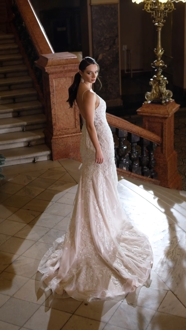 Moonlight Couture H1480 on trend couture lace wedding dresses and beaded wedding dresses