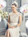 Moonlight Collection J6361 bohemian two-piece wedding dress with vintage french lace appliques