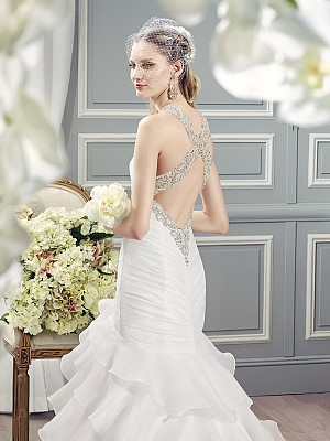 Moonlight Collection J6364 modern flirty low back wedding dress with beaded crisscross straps