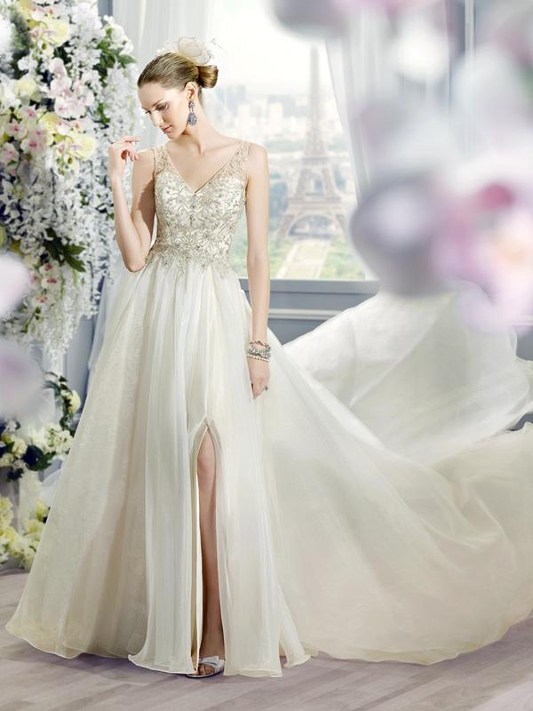 Moonlight Collection J6365 flowing organza wedding gown with a sexy knee high slit