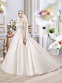 Moonlight Collection J6392 classic blush lace regal ball gown wedding dress with pockets