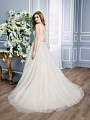 Moonlight Collection J6431 romantic low illusion V-back with sweep train for elegant outdoor weddings