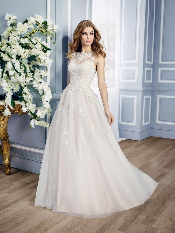 Moonlight Collection J6431 whimsical illusion lace ball gown with embroidered appliques
