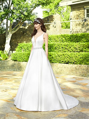 Moonlight Collection J6503 divine satin ball gown with side pockets and beaded waistband
