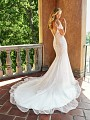 Moonlight Collection J6541 lace mermaid wedding gown with train and buttons along zipper
