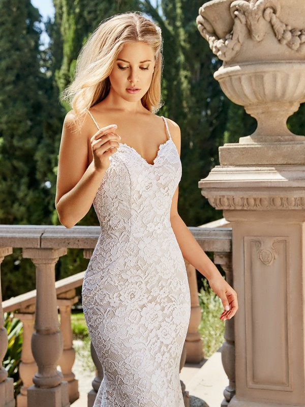 Moonlight Collection J6542 sexy Alencon lace sheath wedding dress with all-over lace