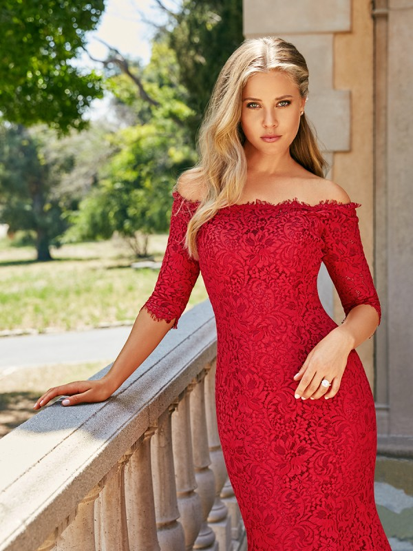 Moonlight Collection J6543 ruby red off-the-shoulder all-lace mermaid wedding dress with 3/4 sleeves