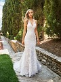 Moonlight Collection J6544 sleek and sexy deep V-neck mermaid wedding dress with all-over lace