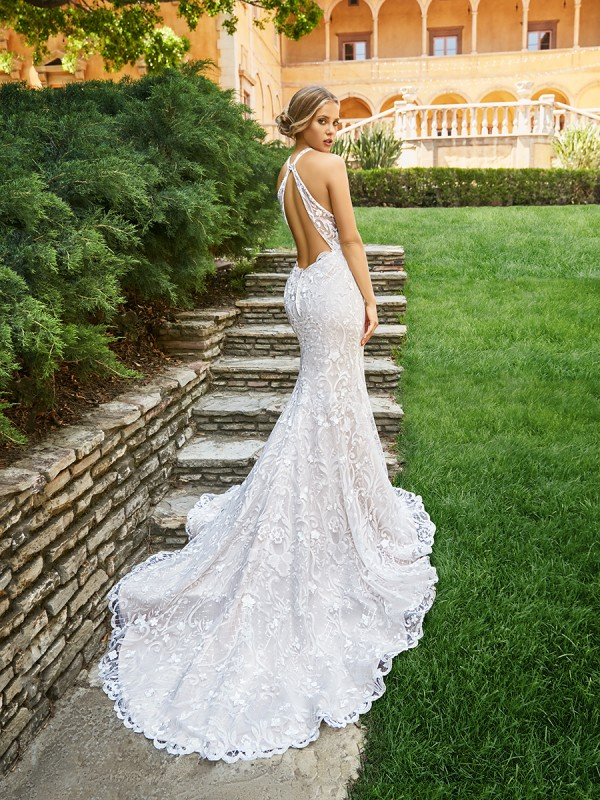 Moonlight Collection J6544 sexy embroidered lace mermaid wedding dress with low key hole back