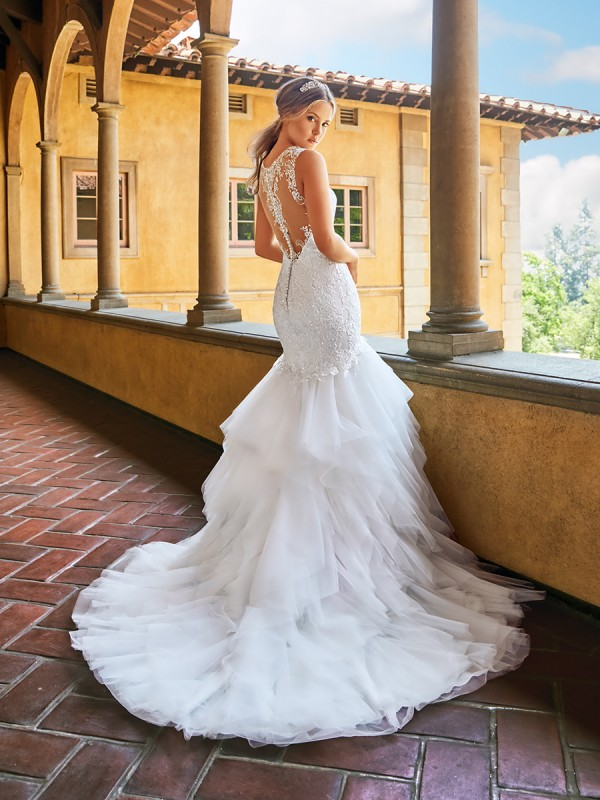 Moonlight Collection J6546 sexy vintage illusion back mermaid wedding dress with ruffle skirt