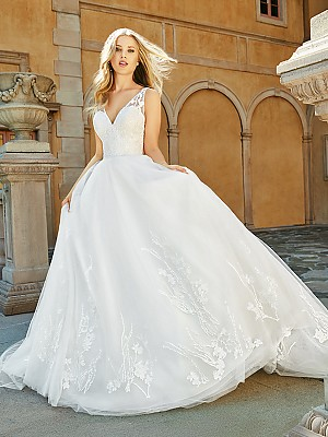 Moonlight Collection J6548 romantic lustrous V-neck ball gown with lace and sparkling beading