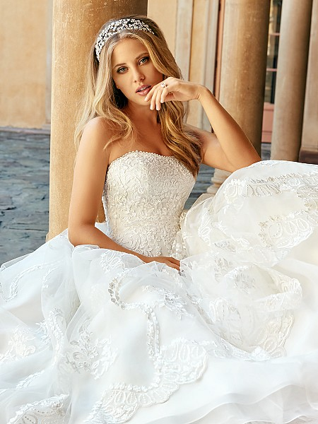 Moonlight Collection J6549 classic soft sweetheart lace A-line wedding dress