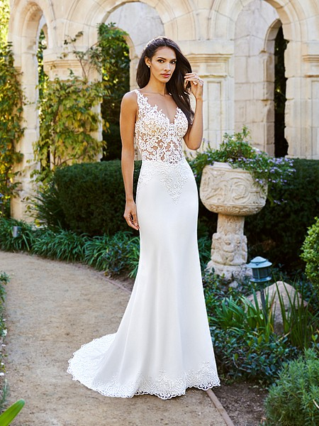 Moonlight Collection J6574A sexy sheer unlined lace mermaid crepe back wedding dress