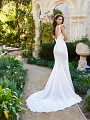 Moonlight Collection J6574B sleek crepe satin wedding dress with gorgeous lace train