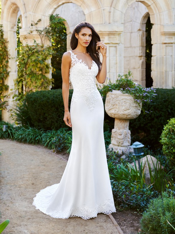 Moonlight Collection J6574B fit and flare lace crepe back satin wedding gown