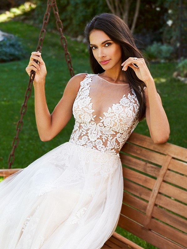 Moonlight Collection J5878A flowing romantic lace A-line wedding gown with sexy unlined illusion bateau bodice