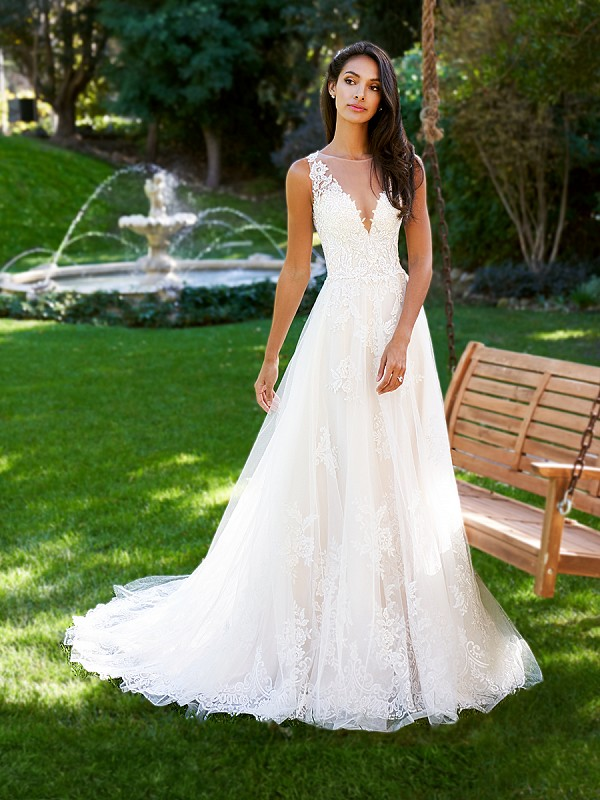 Moonlight Collection J6578B V-neck A-line lace wedding dress