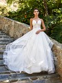 Moonlight Collection J6581A glamorous full A-line sexy sheer unlined wedding gown with dramatic cascading ruffle skirt