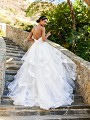 Moonlight Collection J6581B flowing layered skirt A-line wedding dress with lace